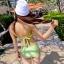 ชุดว่ายน้ำทูพีช สีเขียวสดใส ยกทรงแต่งระบาย ดีเทลกระโปรงระบายเป็นชั้นๆ สีสันสดใส น่ารักมากๆ thumbnail 6