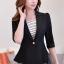 เสื้อสูทแฟชั่น เสื้อสูทสำหรับผู้หญิง พร้อมส่ง สีดำ ผ้าคอตตอน 100 % เนื้อดี คุณภาพงานพรีเมี่ยม งานตัดเย็บเนี๊ยบ ไม่มีซับในระบายอากาศได้ค่ะ thumbnail 3