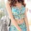 ชุดว่ายน้ำทูพีช สีฟ้า เสื้อลายดอกไม้ สายคล้องคอ แต่งระบาย กางเกงแต่งระบายเป็นชั้นๆ น่ารักมากๆ thumbnail 2