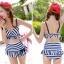 ชุดว่ายน้ำทูพีช สีน้ำเงิน ลายทางสลับสีขาว น่ารัก แต่งกระโปรงระบาย ดีเทลโบว์น่ารัก thumbnail 4