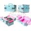 กระเป๋าใส่เครื่องสำอาง กล่องเก็บเครื่องสำอาง ลายจุด ( สีฟ้า )BEAUTY SECRET D Professional Cosmetic Case thumbnail 3