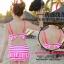 ชุดว่ายน้ำทูพีช สีชมพู ลายทางสลับสีขาว น่ารัก แต่งกระโปรงระบาย ดีเทลโบว์น่ารัก thumbnail 5