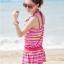 ชุดว่ายน้ำทูพีช เซ็ตคู่ชุดชั้นในเข้ากับชุด สีแดงสลับสีเหลือง ลายทางเก๋ๆ ชุดเดรสแต่งสายรูดเอว thumbnail 2