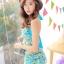 ชุดว่ายน้ำทูพีช สีฟ้า เสื้อลายดอกไม้ สายคล้องคอ แต่งระบาย กางเกงแต่งระบายเป็นชั้นๆ น่ารักมากๆ thumbnail 3