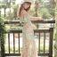 MAXI DRESS ชุดเดรสยาว พร้อมส่ง ผ้าชีฟอง ลายดอกไม้ โทนเขียว สวยมาก thumbnail 7