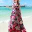 MAXI DRESS ชุดเดรสยาว พร้อมส่ง พื้นสีดำ ผ้าชีฟอง ลายดอกไม้สีโทนแดงทั้งชุด คอวี จั้มช่วงหน้าอก ชายกระโปรงมีสองชั้น สวย thumbnail 3