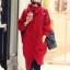 เสื้อกันหนาวไหมพรม พร้อมส่ง สีแดง ตัวโคร่งๆ คอเต่าน่ารัก ถักท่อด้วยผ้าไหมพรมเนื้อแน่น thumbnail 1