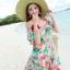 MAXI DRESS ชุดเดรสยาว พร้อมส่ง พื้นสีฟ้า ลายดอกไม้ สีโทนชมพู สวยมาก ดีเทลระบายเป็นชั้น thumbnail 7