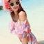 MAXI DRESS ชุดเดรสยาว พร้อมส่ง สีชมพู ลายดอกไม้สีโทนม่วง สวยมาก ดีเทลระบายเป็นชั้นช่วงคอเสื้อ thumbnail 5