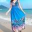 MAXI DRESS ชุดเดรสยาว พร้อมส่ง สีน้ำเงิน คอวีลึก แขนกุด แต่งย่นๆช่วงหัวไหล่ ลายดอกไม้สีสัน สม๊อคช่วงเอว สวยมากๆค่ะ thumbnail 2