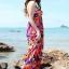 Maxi dress ชุดเดรสยาว พร้อมส่ง สีพื้นน้ำเงินลายดอกไม้สีสันสดใส สวยมากๆค่ะ เนื้อผ้า ice silk อย่างดี ใส่สบาย เนื้อผ้ามีความยืดหยุ่นได้ดีค่ะ thumbnail 4