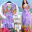 maxi dress ชุดเดรสยาว พร้อมส่ง สีม่วง คอวีลึก ลายดอกไม้สีสัน สม๊อคช่วงเอว สวยมากๆค่ะ thumbnail 5