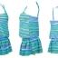 ชุดว่ายน้ำทูพีช เซ็ตคู่ชุดชั้นในเข้ากับชุด สีเขียวสลับสีฟ้า ลายทางเก๋ๆ ชุดเดรสแต่งสายรูดเอว thumbnail 4