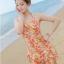 ชุดว่ายน้ำวันพีช สีส้ม ลายดอกไม้สีสันสดใส มากๆค่ะ ผูกสายคล้องคอ ดีเทลย่นๆช่วงเอว แต่งกระโปรงระบายๆ เป็นชั้นๆ thumbnail 5