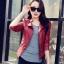 เสื้อแจ็คเก็ต สีแดง คอจีน พร้อมส่ง ดีเทลด้วยปกโฉบเฉี่ยว แต่งกระเป๋าหลอกด้วยซิบรูด สุดเท่ห์ thumbnail 1