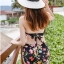 ชุดว่ายน้ำทูพีช สีดำ แต่งสายคล้องคอ ลายผีเสื้อ + ลายดอกไม้สีสัน ดีเทลกางเกงย่นๆ ด้านหน้า น่ารักมากๆค่ะ thumbnail 3