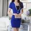 ชุดสูททำงาน เซ็ตคู่ เสื้อสูทสีน้ำเงิน แขนสั้น เนื้อผ้าโพลีเอสเตอร์ + คอนตอน แต่งขลิบสีขาว 2 ข้างเก๋ ดีเทลแขนพับ คอวีลึก กระโปรงทรงเอ สีน้ำเงิน thumbnail 4