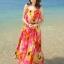 MAXI DRESS ชุดเดรสยาว พร้อมส่ง สีโทนส้ม ผ้าชีฟอง เนื้อดี ใส่สบาย มีซับใน พิมพ์ลายดอกไม้สีเหลืองสลับสีส้ม สีสันสดใส สายเดี่ยวเซ็กซี่ thumbnail 1