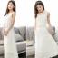 MAXI DRESS ชุดเดรสยาว พร้อมส่ง สีขาว แขนกุด ผ้าลูกไม้เนื้อนิ่ม ใส่สบาย ลวดลายสวยหวาน ใส่ออกงานได้ มาพร้อมเข็มขัดเข้าชุด thumbnail 5