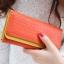 กระเป๋าสตางค์แฟชั่น พร้อมส่ง ด้านนอกสีส้ม ด้านในสีเหลือง ใบยาว DESIGN สุดเก๋ ลายหนังงู สวยหรู thumbnail 1