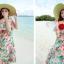 MAXI DRESS ชุดเดรสยาว พร้อมส่ง พื้นสีฟ้า ลายดอกไม้ สีโทนชมพู สวยมาก ดีเทลระบายเป็นชั้น thumbnail 3