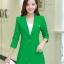เสื้อสูทแฟชั่น พร้อมส่ง สีเขียว ตัวยาว คลุมสะโพก แขนยาว คอปกเก๋ แต่งสายคาดเอวด้านหลัง งานสวยดีไซน์เก๋มากๆ thumbnail 1