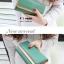กระเป๋าสตางค์แฟชั่น พร้อมส่ง ด้านนอกสีเขียว ด้านในสีครีม ใบยาว DESIGN สุดเก๋ ลายหนังงู สวยหรู thumbnail 2