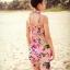ชุดว่ายน้ำทูพีช พื้นชมพู ลายดอกไม้สีหวาน เซ็ตสามชิ้น เสื้อช้ันใน + กางเกง และ ชุดเดรสลายดอกไม้ สม๊อคช่วงอก แบบน่ารักมากๆ thumbnail 7