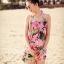 ชุดว่ายน้ำทูพีช พื้นชมพู ลายดอกไม้สีหวาน เซ็ตสามชิ้น เสื้อช้ันใน + กางเกง และ ชุดเดรสลายดอกไม้ สม๊อคช่วงอก แบบน่ารักมากๆ thumbnail 8