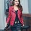 เสื้อแจ็คเก็ต เสื้อหนังแฟชั่น พร้อมส่ง สีแดง คอปกแต่งขลิบสีดำ เข้ารูป สุดเท่ห์ thumbnail 1