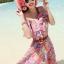 MAXI DRESS ชุดเดรสยาว พร้อมส่ง สีชมพู ลายดอกไม้สีโทนม่วง สวยมาก ดีเทลระบายเป็นชั้นช่วงคอเสื้อ thumbnail 3
