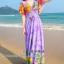 maxi dress ชุดเดรสยาว พร้อมส่ง สีม่วง คอวีลึก ลายดอกไม้สีสัน สม๊อคช่วงเอว สวยมากๆค่ะ thumbnail 4