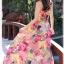 MAXI DRESS ชุดเดรสยาว พร้อมส่ง สีโทนชมพู ผ้าฝ้าย เนื้อดี ใส่สบาย ไม่มีซับใน พิมพ์ลายดอกไม้สีสวยสีชมพูสลับสีเหลือง สายเดี่ยว สามารถปรับสายได้ เอวยางยืด thumbnail 3