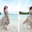 MAXI DRESS ชุดเดรสยาว พร้อมส่ง พื้นสีฟ้า ลายดอกไม้ สีโทนชมพู สวยมาก ดีเทลระบายเป็นชั้น thumbnail 2