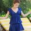 ชุดว่ายน้ำวันพีช สีน้ำเงิน สม๊อคช่วงอก คอวีลึก แต่งระบายช่วงแขน กระโปรงพริ้วๆน่ารัก ด้านในเป็นกางเกงติดกับตัวชุดค่ะ thumbnail 3