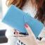 กระเป๋าสตางค์แฟชั่น พร้อมส่ง สีฟ้า แต่งคาดกระดุมแป๊กรูปหัวใจเก๋ๆ ทรงเรียบหรู ใบยาว DESIGN สุดเก๋ ไฮโซมากๆ thumbnail 3