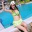 ชุดว่ายน้ำทูพีช สีเขียวสดใส ยกทรงแต่งระบาย ดีเทลกระโปรงระบายเป็นชั้นๆ สีสันสดใส น่ารักมากๆ thumbnail 1