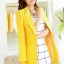 เสื้อสูทแฟชั่น พร้อมส่ง สีเหลือง ตัวยาว คลุมสะโพก แขนยาว คอปกเก๋ แต่งสายคาดเอวด้านหลัง งานสวยดีไซน์เก๋มากๆ thumbnail 5