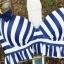 ชุดว่ายน้ำทูพีช สีน้ำเงิน ลายทางสลับสีขาว น่ารัก แต่งกระโปรงระบาย ดีเทลโบว์น่ารัก thumbnail 10