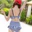 ชุดว่ายน้ำทูพีช สีน้ำเงิน ลายทางสลับสีขาว น่ารัก แต่งกระโปรงระบาย ดีเทลโบว์น่ารัก thumbnail 5