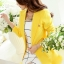 เสื้อสูทแฟชั่น พร้อมส่ง สีเหลือง ตัวยาว คลุมสะโพก แขนยาว คอปกเก๋ แต่งสายคาดเอวด้านหลัง งานสวยดีไซน์เก๋มากๆ thumbnail 7