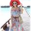MAXI DRESS ชุดเดรสยาว พร้อมส่ง สีฟ้า ลายดอกไม้โทนสีแดง สวยมาก ดีเทลระบายเป็นชั้นช่วงคอเสื้อ thumbnail 8