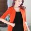 เสื้อสูทแฟชั่น เสื้อสูททำงาน เสื้อสูทสำหรับผู้หญิง พร้อมส่ง สีส้มสดใส ผ้าโพลีเอสเตอร์ 100 % เนื้อดี งานตัดเย็บเนี๊ยบ เย็บเก็บตะเข็บเรียบร้อยค่ะ เนื้อผ้ามีความยืดหยุ่นได้ค่ะ ใส่สบาย แต่งแขนพับสามส่วน thumbnail 4