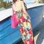 Maxi dress ชุดเดรสยาว พร้อมส่ง สีสันสดใสสะดุดตา ลายสี่เหลี่ยมมิติ เนื้อผ้า ice silk อย่างดี ใส่สบาย เนื้อผ้ามีความยืดหยุ่นได้ดีค่ะ thumbnail 2