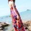 Maxi dress ชุดเดรสยาว พร้อมส่ง สีพื้นน้ำเงินลายดอกไม้สีสันสดใส สวยมากๆค่ะ เนื้อผ้า ice silk อย่างดี ใส่สบาย เนื้อผ้ามีความยืดหยุ่นได้ดีค่ะ thumbnail 2