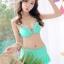 ชุดว่ายน้ำทูพีช สีเขียว เสื้อลายดอกไม้แต่งระบายเป็นชั้นๆ สายคล้องคอ กางเกงแต่งระบาย น่ารักมากๆ thumbnail 4