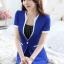 ชุดสูททำงาน เซ็ตคู่ เสื้อสูทสีน้ำเงิน แขนสั้น เนื้อผ้าโพลีเอสเตอร์ + คอนตอน แต่งขลิบสีขาว 2 ข้างเก๋ ดีเทลแขนพับ คอวีลึก กระโปรงทรงเอ สีน้ำเงิน thumbnail 3