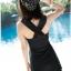 ชุดว่ายน้ำวันพีช สีดำ แต่งด้วยผ้าป้ายช่วงหน้าอก สายไขว้ด้านหลัง กระโปรงบานพริ้วๆ thumbnail 6