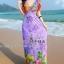 maxi dress ชุดเดรสยาว พร้อมส่ง สีม่วง คอวีลึก ลายดอกไม้สีสัน สม๊อคช่วงเอว สวยมากๆค่ะ thumbnail 3