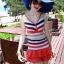 ชุดว่ายน้ำวันพีช สีโทนแดง ลายทางสลับสีสันสดใส คอวี แต่งกระโปรงบาน 2 ชั้น น่ารัก สุดๆ thumbnail 3